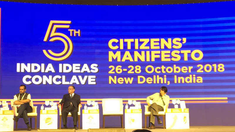 Chairman Prachanda addressing the 5th Indian Ideas Conclave.