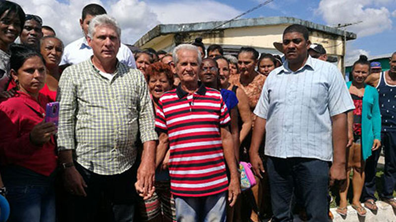 Cuban President Miguel Diaz-Canel in the Hurricane Michael affected area in Southern Cuba