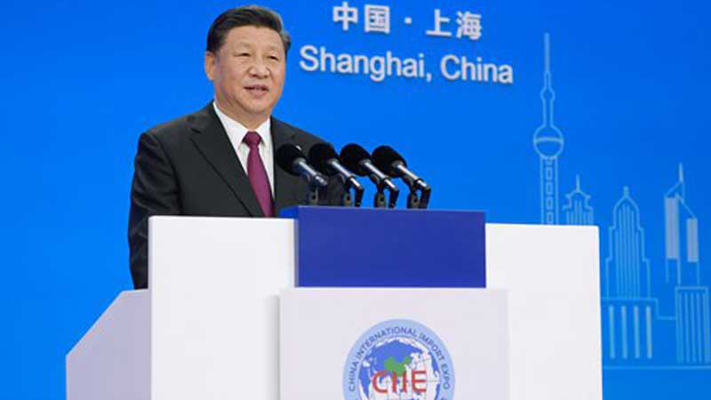 Chinese President and general secretary of the Communist Party of China Xi Jinping, Delivering Keynote Speech of China International Import Expo 2018