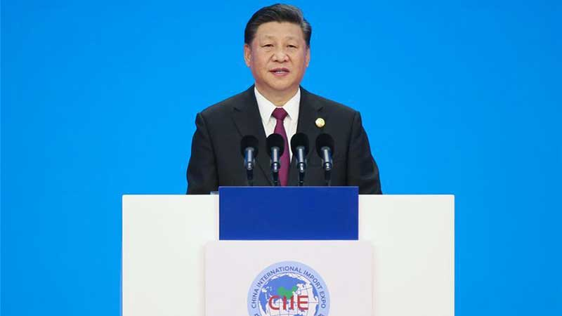 Chinese President Xi Jinping, delivering his keynote speech at First China International Import Expo CIIE 2018