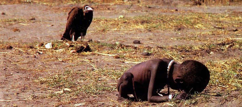A vulture waiting the girl to die in Somalia.