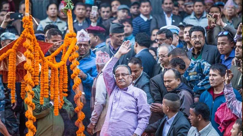 Comrade Prachanda saluting people at Aaryaghat