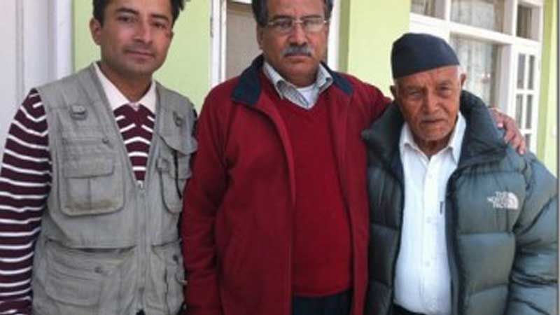 Prakash Dahal with his father comrade Prachanda and his grand father late Mukti Ram Dahal