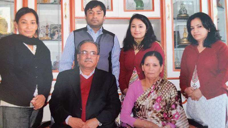 Prakash Dahal with his family members