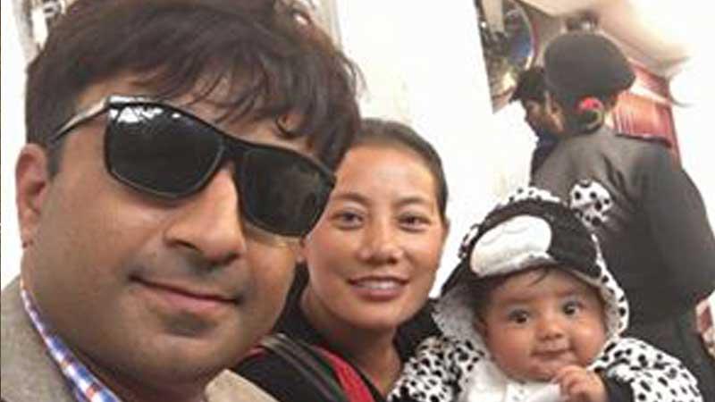 Prakash Dahal with his wife Bina Magar and son Pranav Dahal