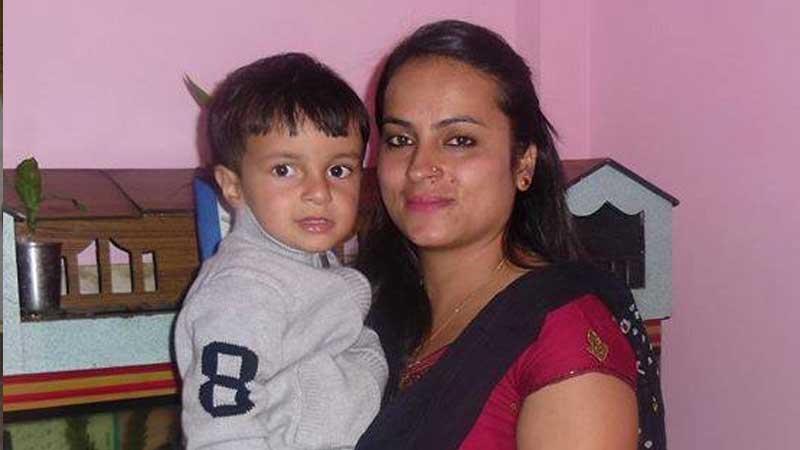 Son of Prakash Dahal, PRasiddha Dahal with his wife Srijana Tripathi