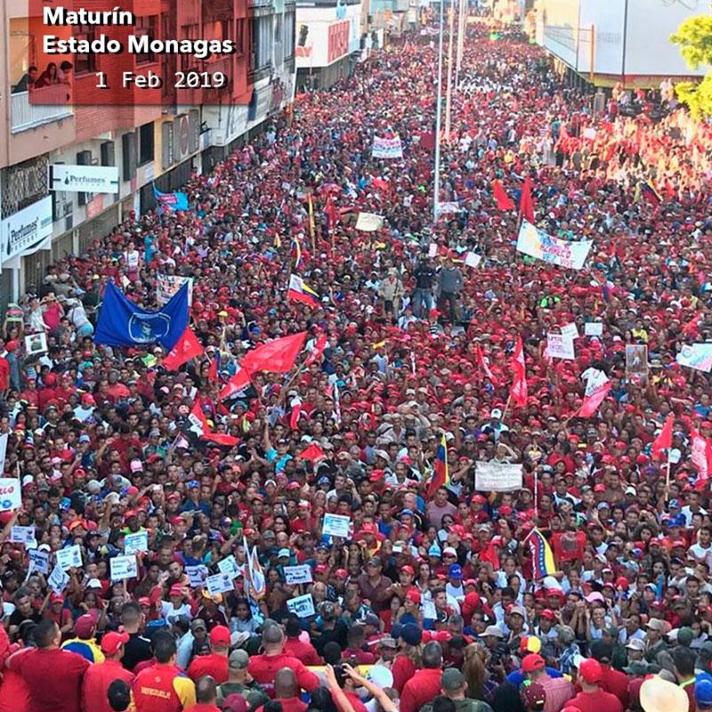 Monagas, VeneZuela, Demonstration in favour of President Nicolas Maduro Moros