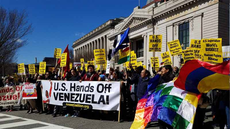 Hands off Venezuela infront of white house