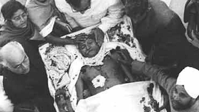 Mahatma Gandhi who was shot 3 buleets at his chest by Nathuram Godse