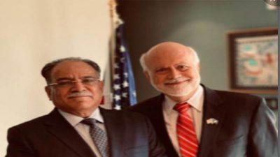 अध्यक्ष प्रचण्ड र नेपालका लागि पूर्व अमेरिकी राजदूत स्कट एच डेलिसीबीच भेटवार्ता