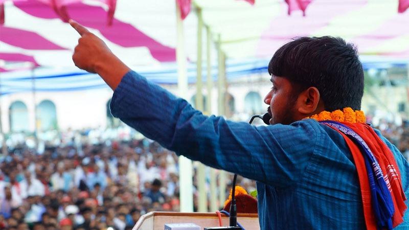 Kanhaiya Kumar addressing the mass of Begusarai, Bihar, India