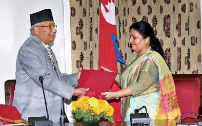 प्रधानमन्त्री ओलीद्वारा राष्ट्रपतिसमक्ष नेपाल सरकारको प्रतिवेदन प्रस्तुत