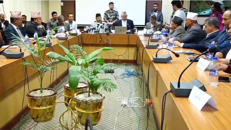 Gokul Banskota and Yuba Raj Khatiwada at Press meet of the council of Ministers.