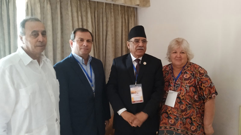 Chairman Prachanda with Fernando Gonjalez, Aleida Guevara at Asia Pacific Solidarity with Cuba