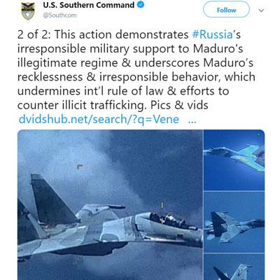 Venezuelan SU-30 EP-3 Fighter SouthCom twit