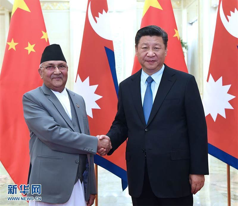 Xi Jinping and KP Sharma Oli in Beijing