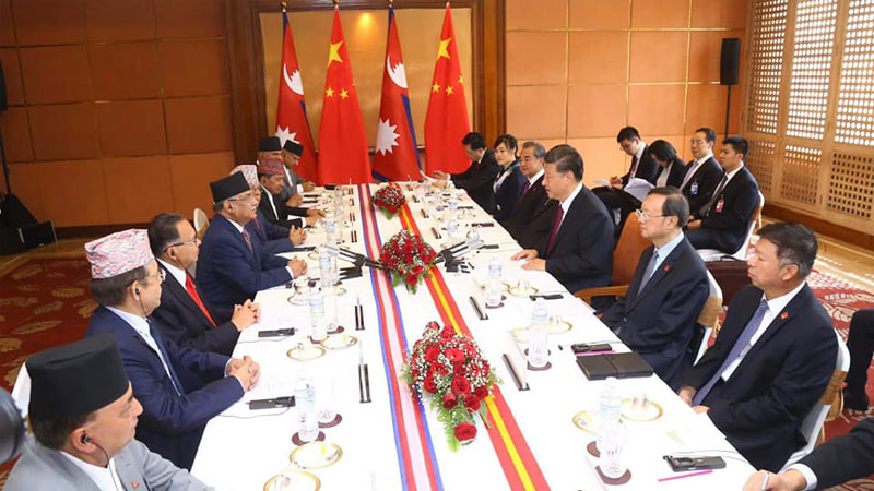 xi jinping , Prachanda and NCP leaders