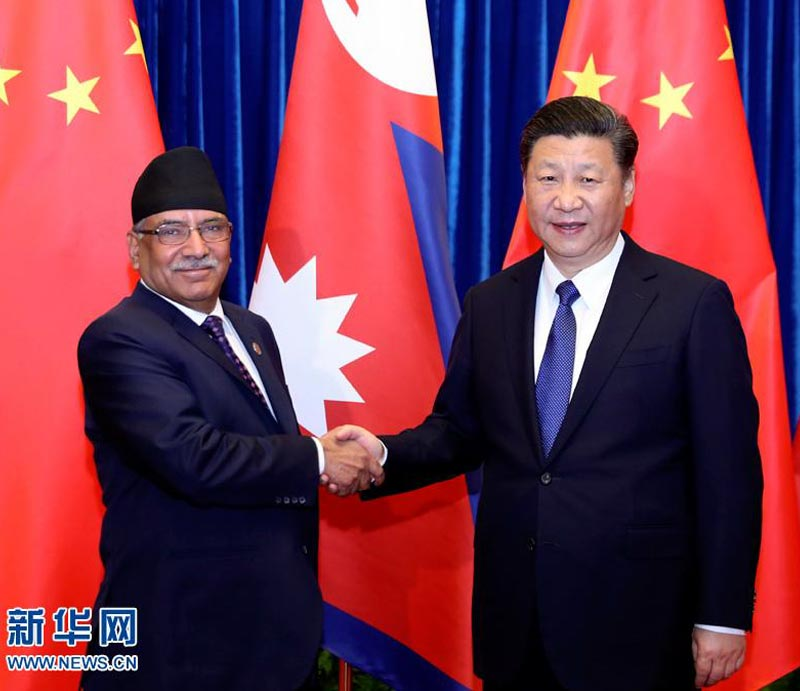 Ex-PM Pushpa Kamal Dahal Prachanda and Chinese President Xi Jinping