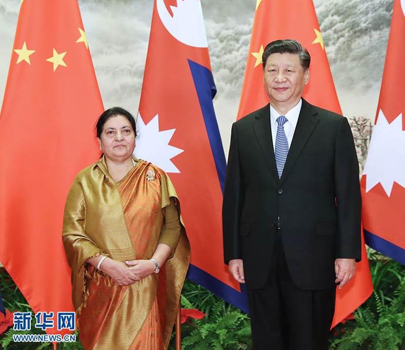 Chinese President Xi-Jinping and Nepali President VidyaDevi Bhandari in Beijing