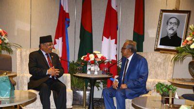 अध्यक्ष प्रचण्ड र बंगलादेशका राष्ट्रपति हमिद बिच भेटवार्ता